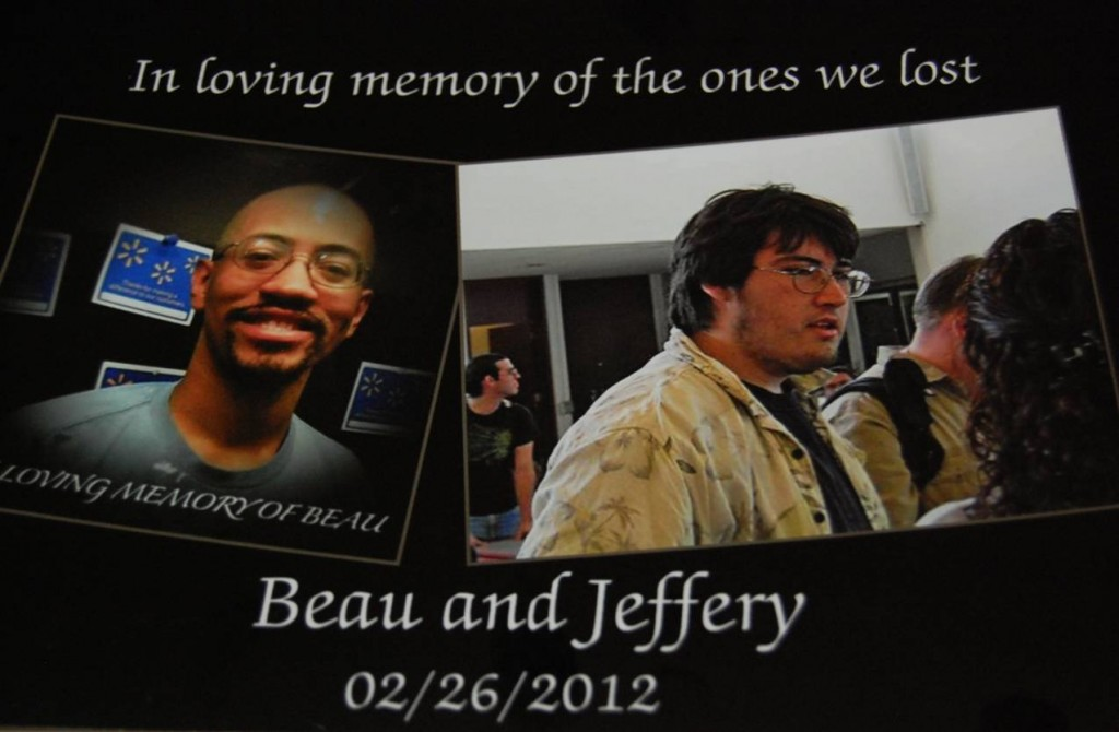 In the days following the fatal crash, Walmart associates created memorial photos of Beau [left] and Jeff [right].