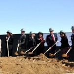 Palmdale School District members hold a groundbreaking ceremony for the Dos Caminos School Wednesday morning.