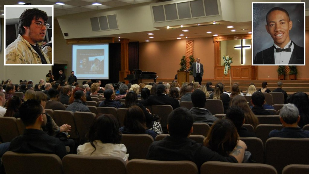 Days after the fatal crash in 2012, a crowd of more than 300 came to a memorial service for Jeffrey Gilstrap (top left) and Beau Fluker (top right).