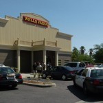 A merchant was robbed at gunpoint late Monday morning in the parking lot of Well Fargo bank in east Palmdale. The thieves made off with around $10,000, authorities said. Photo by LUIS MEZA.