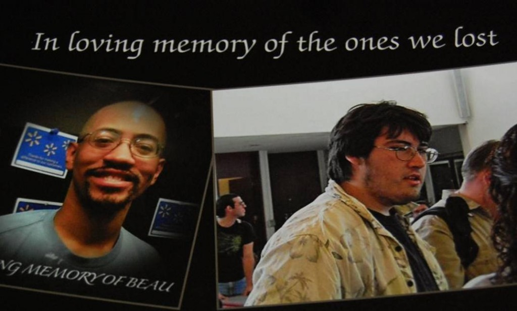 In the days following the fatal crash, Walmart associates created memorial photos of Beau (left) and Jeffrey (right) in Walmart Photo Department.