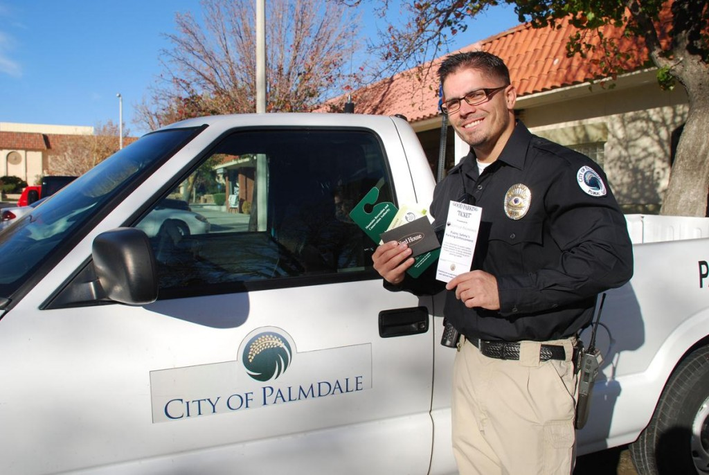 "City of Palmdale Parking Enforcement Officer Matthew McClanahan will be part of the team that will be issuing ""good parking"" tickets throughout Palmdale now through Dec. 23. (Photo courtesy city of Palmdale.)"