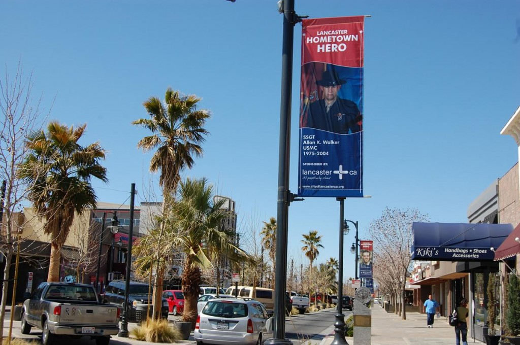 A maximum of 60 light poles are available (on The BLVD, between Beech Avenue and Genoa Avenue, for 2014/2014. The banners will display pictures of Antelope Valley residents who have served in a combat theater during a time of war.