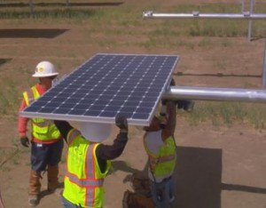 The solar power plant is co-located in Los Angeles and Kern Counties.