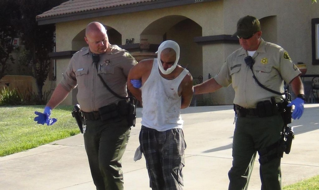 Armed robbery suspect Eric Perez was found hiding in the attic of an occupied home Thursday afternoon. A teenager, who was home alone at the time, lead deputies to the discovery. (LUIS MEZA)