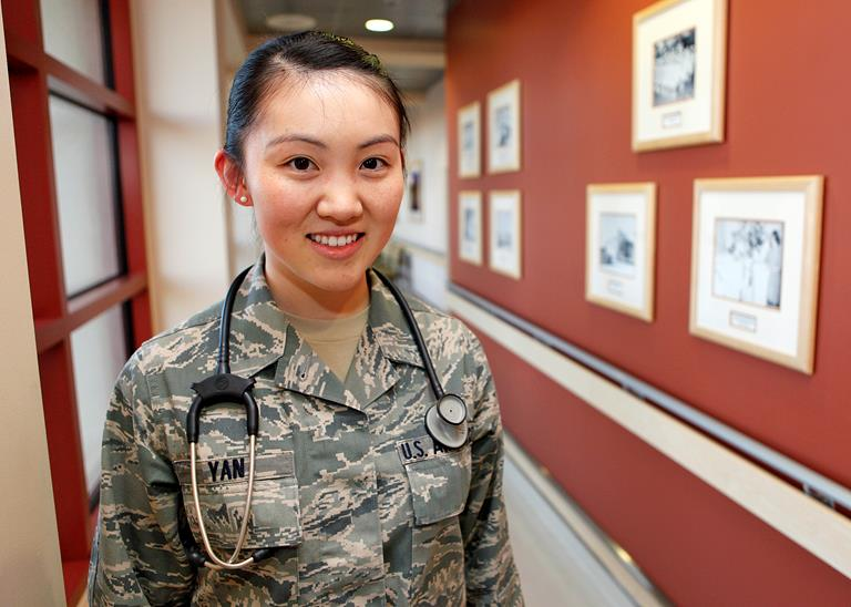 Senior Airman ShuJie Yan, an aerospace medical service technician at Edwards AFB, has been selected to attend the U.S. Air Force Academy this fall. (U.S. Air Force photo by Jet Fabara)
