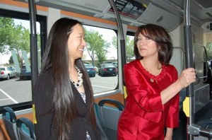 Lancaster's Deputy Mayor Kit Yee Szeto and Councilmember Sandra Johnson toured the new electric bus Wednesday.