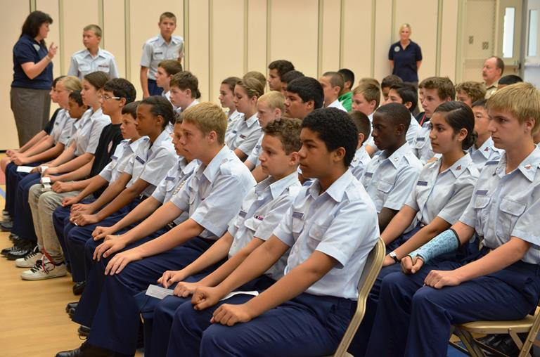 Joe Walker Civil Air Patrol students sit at attention at the promotion ceremony.