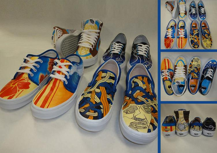 Eastside High School art students were given four pairs of Vans shoes to be customized with Art, Music, Action Sports and Local Flavor themes. This photo shows the students' designs.