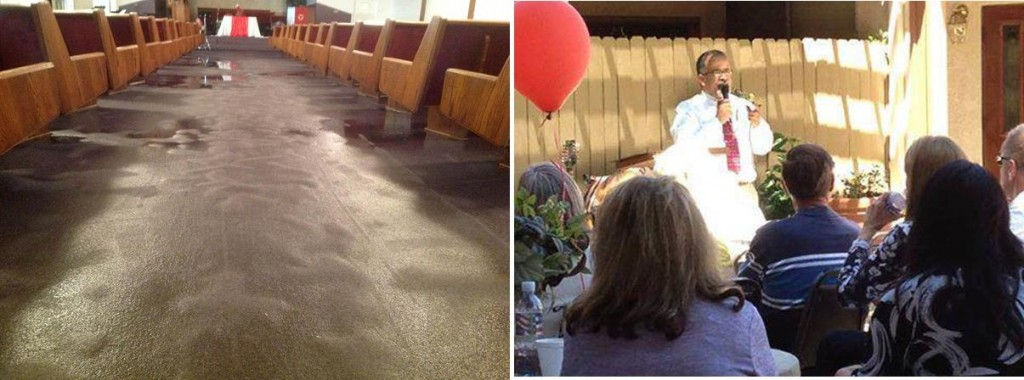 The congregation was forced to hold services outdoors last Sunday (May 19) because vandals turned on a fire hose and flooded the majority of the church. The vandals ultimately caused nearly $60K in damages. (Contributed photos)