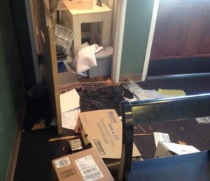 Vandals broke into the church safe most likely looking for money.