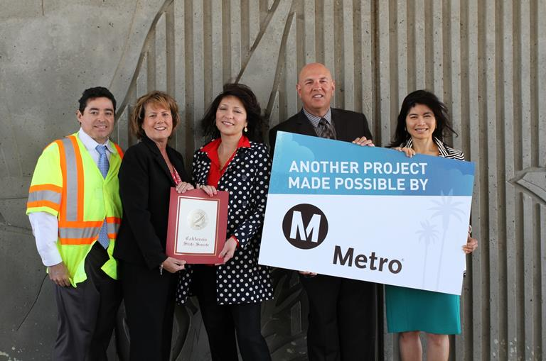 (L to R) Hector Obeso, Office Chief, District 7 Construction, Southwest Area, Caltrans; Lisa Moulton, District Coordinator for Senator Steve Knight; Sandra Johnson, Lancaster City Councilmember; Norm Hickling, Field Deputy for L.A. County Supervisor Antonovich; and Lan Saadatnejadi, Executive Officer, Metro Highway Programs.