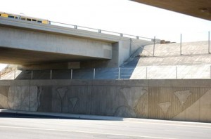 the newly designed interchange includes an artistic poppy motif for local flair.