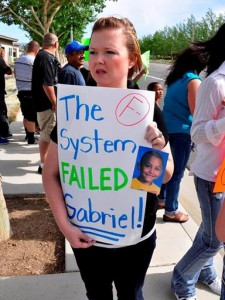 Gabriel's teacher, Jennifer Garcia, attended the protest and said she tried many times to answer his cries for help.