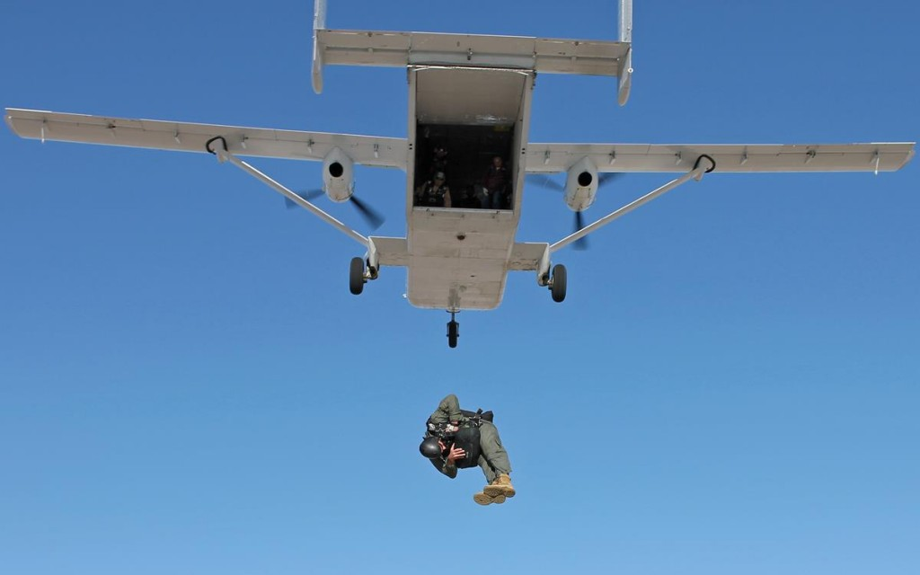 Tech. Sgt. Matthew Mensch exits an SC.7 Skyvan with a Low-Profile Parachute April 12, 2013 over the Edwards Farm Dropzone at Edwards Air Force Base, Calif. The Low-Profile Parachute is intended to replace the BA-22 parachute, which is currently configured for use in the AC-130 gunship. Mensch is a 418th Flight Test Squadron parachute test jumper. (U.S. Air Force photo/Staff Sgt. Jonathan Case)