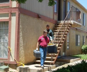 Crime lab technicians were at the scene Thursday morning.