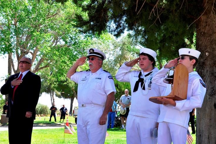 The Sea Scouts, led by Palmdale Council Member Steve Hofbauer, performed the Two Bell Ceremony.