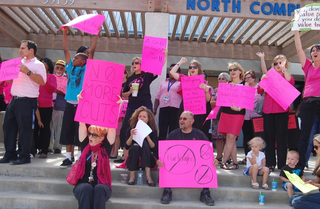 The protest started around 3:15 p.m. Tuesday and continued until just before the school board meeting.