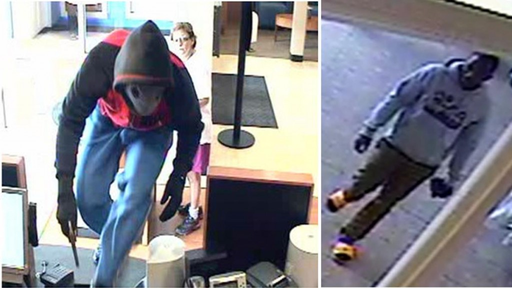 Shortly after a Simi Valley Chase Bank robbery on May 15, officials released these photos and asked for the public's help in finding the suspect. Simi Valley detectives have now identified 23-year-old Demarie Rashad Mackey, a parolee from Palmdale, as the man in these photos. (Courtesy Simi Valley Police Department)