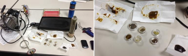 "Collectively, this equipment makes a complete ""Hash Lab."" It was found inside a car during a traffic stop Monday. (Photo courtesy LASD)"