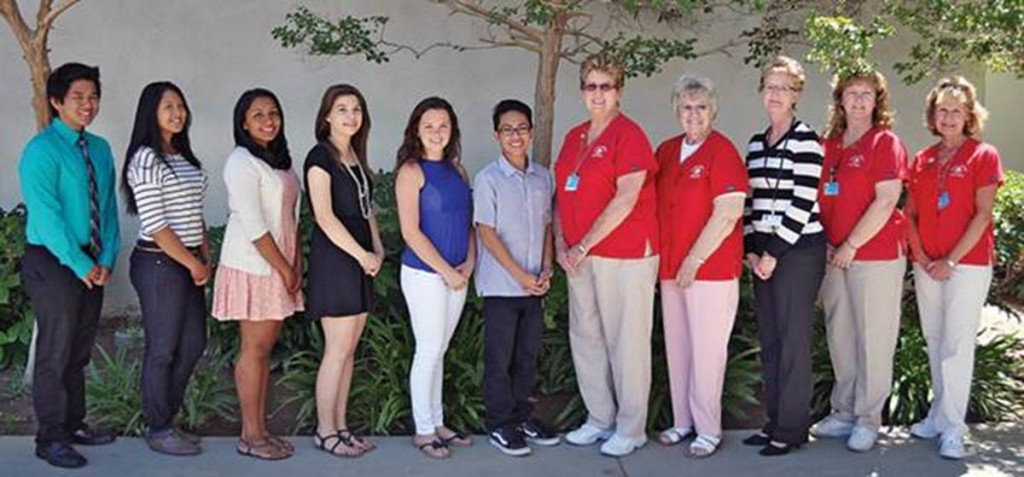 (L to R): Josef Madrigal, Maxine Vera Cruz, Naomie Ranatunge, Annie Radigan, Amy Sodergren, Anthony Sablan, AVH Auxiliary Scholarship Committee members Judy Vaughn, Bobbie Patton , Mary Theobald (AVH Director of Patient & Guest Relations/Volunteer Services), Harriet Lee, and Patty Welbourn. Not pictured are: Laura Ayala, Nikita Bakhru, Robert Hyun, Wafigah Shah, and Scholarship Committee member Beryl Patterson.