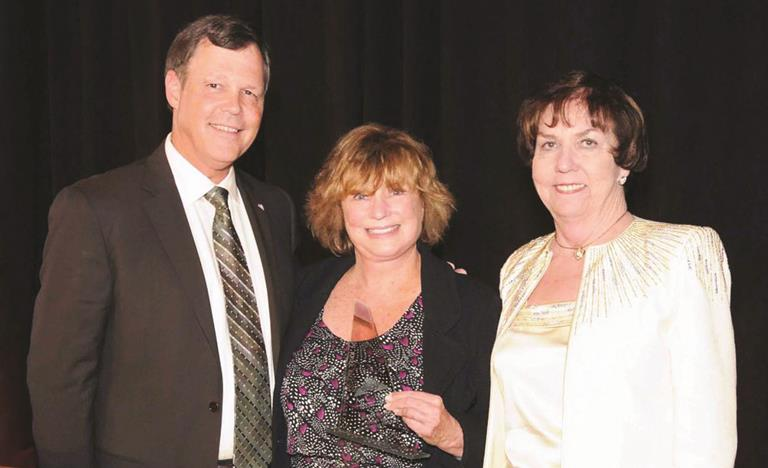 David McGhee, CEO, ACHD, Berna Lee Mayer, MN, FNP, and Katie Kane, Immediate Past Chair, ACHD Board of Directors, Trustee, Sequoia Healthcare District, at the awards ceremony.