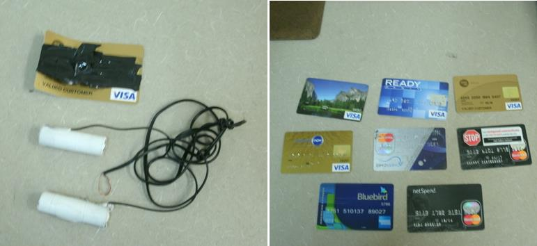 "Ryan Lasko had a makeshift ""skimming"" device (left) and several fraudulent credit cards when he was caught by authorities last week, according to Lt. Cory Kennedy. (Courtesy LASD)"