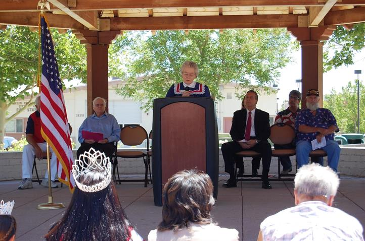 """Viola Lawrence of the Daughters of the American Revolution recited a poem titled """"Arthur MacArthur's Flag."""""""