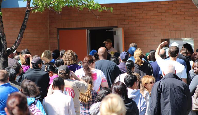 Student release was somewhat chaotic following a lockdown at Westside School District's Hillview Middle School this past April. The Palmdale School District will focus its annual disaster preparedness training on student release this year. (TONY CHEVAL)