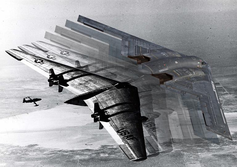 Artist's rendition of a version of the YB-49 transforming into the B-2 Spirit. (U.S. Air Force Graphic by Jet Fabara)