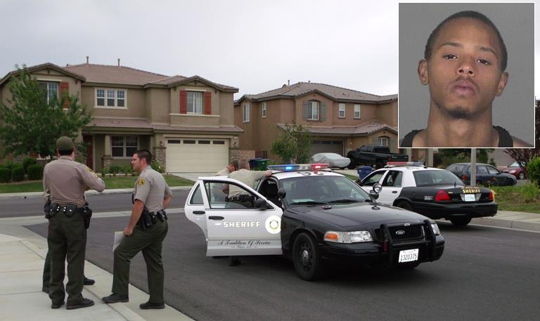 Anthony Mitchell was found hiding underneath a backyard Jacuzzi in a residential neighborhood just west of Summerwind Elementary School in Palmdale. (Photo by LUIS MEZA)