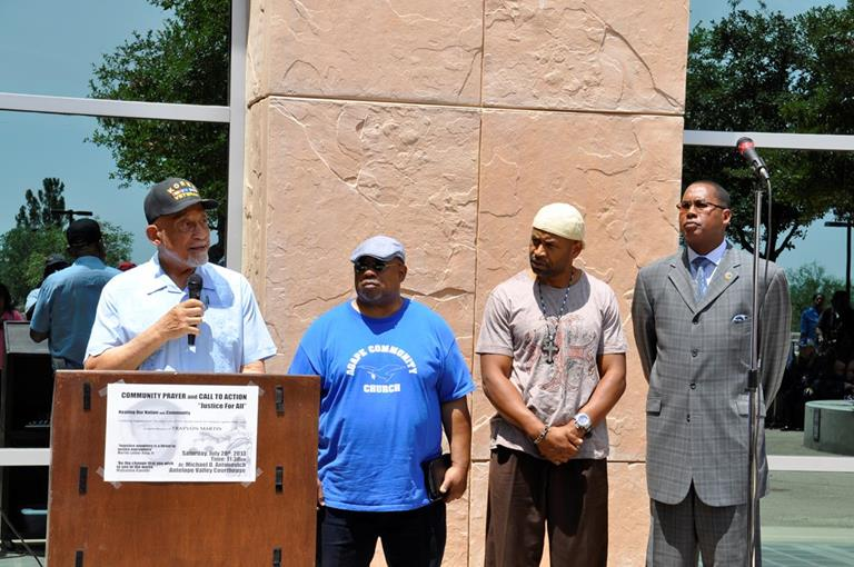 """The time has come for everybody to recognize the fact that all men were created equal,"" said Lancaster Mayor Emeritus Henry Hearns, whose speech was punctuated by applause throughout and shouts of ""Amen!"" Hearns cautioned the crowd against using violence to resolve perceived injustice, and urged attendees to strive for love and unity instead.  ""Vengeance does not belong to us, but justice does,"" Hearns said."