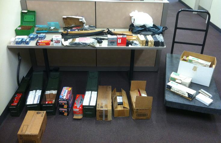 These items were seized when authorities served a search and arrest warrant for assault with a deadly weapon suspect Enrique Rojas. He was arrested Thursday and released on bail Friday. (Photo courtesy LASD)