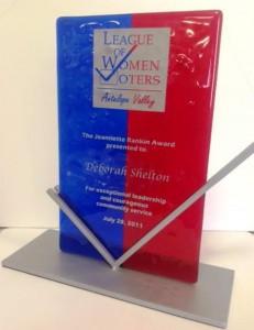 Deborah Shelton received the award in 2011. (Photo courtesy LWVAV)