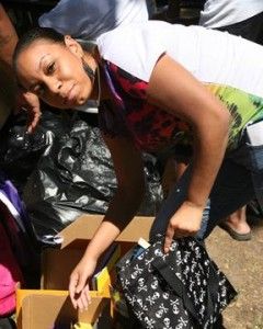 Community activist Veronica Fields donated school supplies. (Simac Production Studios)