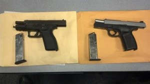 Two handguns were recovered, one of which was reported stolen. (LASD)