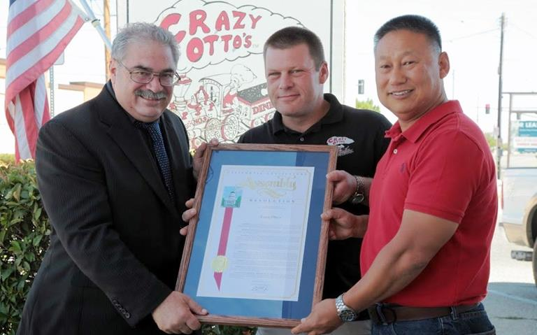 (L to R) Assemblymember Steve Fox, Crazy Otto's partners Sean Chainey and Jin Hur.