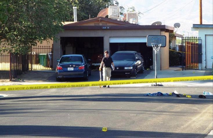 Homicide detectives were on scene Sunday morning investigating a gang-related shooting that happened on Avenue Q-6 and Lilacview Avenue in Palmdale. (Photo by LUIZ MEZA)