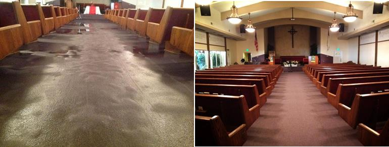 On May 17, vandals soaked the Horizon Community Church sanctuary (left). The church is now repaired (right) and the congregation is ready to move forward. (Contributed photos.)