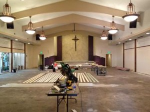 The church has to be treated for asbestos once contractors pulled up the soaked rugs.