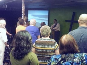 Services were held in the Youth Center while the sanctuary underwent repairs.