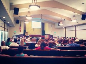 Services were held in the sanctuary on Sunday, Aug. 18 for the first time since the May vandalism.