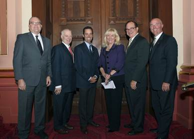 (L to R) John Larson, Dr. Al Romig, Senator Steve Knight, Assembly Majority Leader Connie Conway, Senate Majority Leader Bob Huff, Eric Fox.