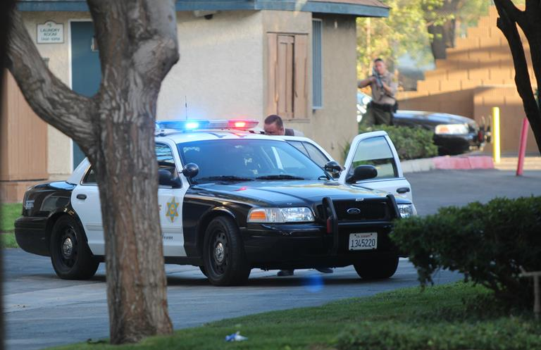 The Sienna Heights apartment complex in Lancaster was locked down for about three hours Tuesday evening, as several officers with guns drawn searched for six suspects linked to a carjacking. Sienna Heights resident Anthony Lyons was arrested, but the author of this submission says the officers got the wrong man. (Photo by TONY CHEVAL)