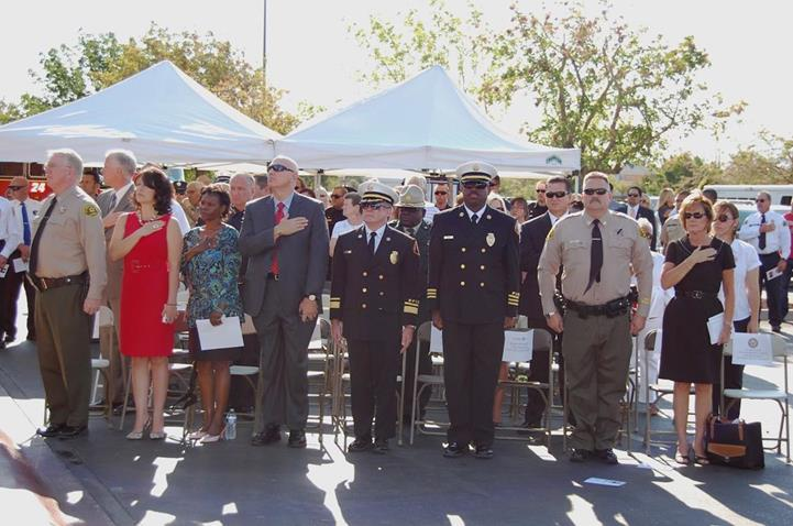 A crowd of about 200 attended the somber hour-long ceremony