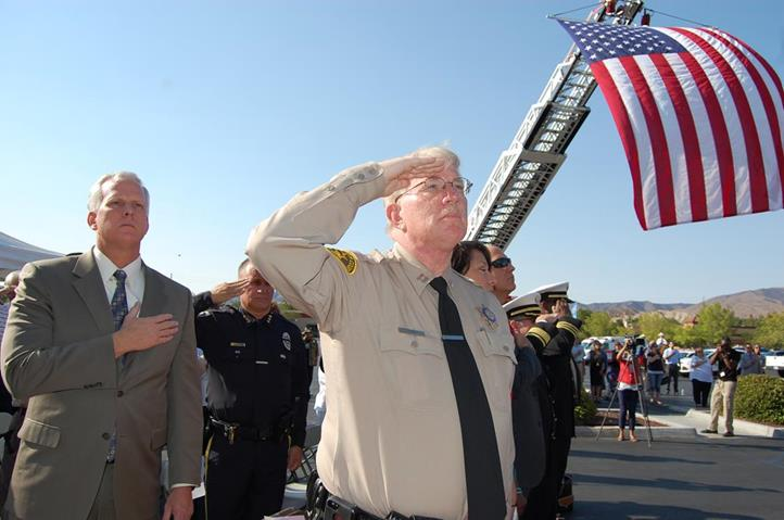 Palmdale Sheriff's Station Captain Don Ford (forefront) said the remembrance ceremony was not a funeral. Rather, it was conducted with pride and reverence for the brave men and women who had risked it all, Ford said.