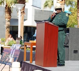 Angeles National Forest Fire Chief James Hall read the names of the 14 local fallen heroes.