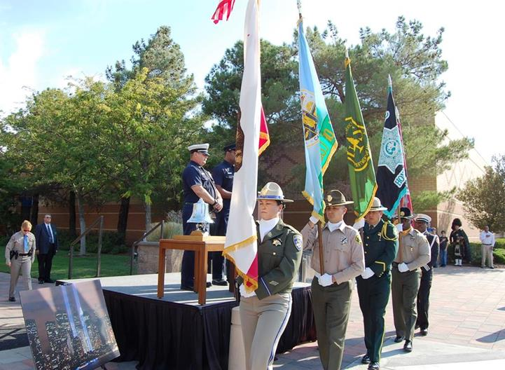 The ceremony included a presentation of colors by a multi-agency color guard.