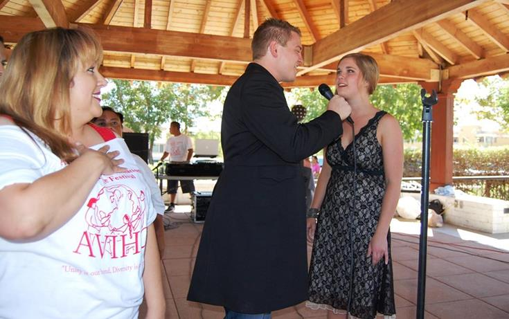 Local artists Jacob Nelson and Molly Wineland sang the National Anthem to open the event.