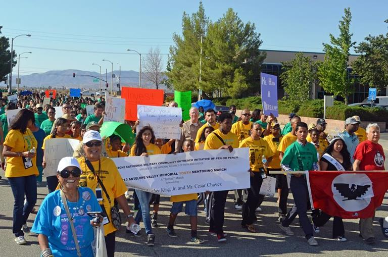 Hundreds of students marched to a rally Friday morning held at Firestation #129. The AV Youth Mentoring March was themed 'I Am the Dream' ~ 'Se Puede Vivir' in honor of Dr. Martin Luther King, Jr. and Cesar Chavez. (Photo by TOM LLEWELLYN)